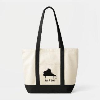 Personalized Piano Silhouette Canvas Music Tote Impulse Tote Bag