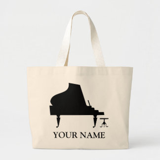 Personalized Piano Silhouette Totebag Music Gift Tote Bags