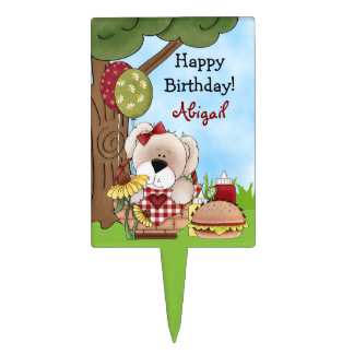 Personalized Picnic Puppy Dog Birthday Cake Topper
