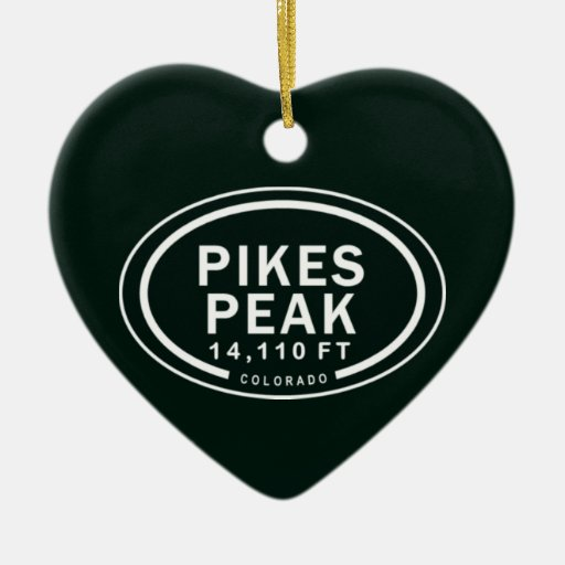 Personalized Pikes Peak CO Mountain Heart Ornament