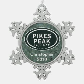 Personalized Pikes Peak Colorado Rocky Mountain Snowflake Pewter Christmas Ornament