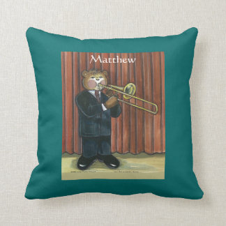 Personalized Pillow for Male Trombone Player