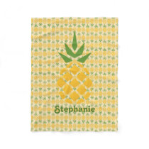Personalized Pineapple Fleece Blanket