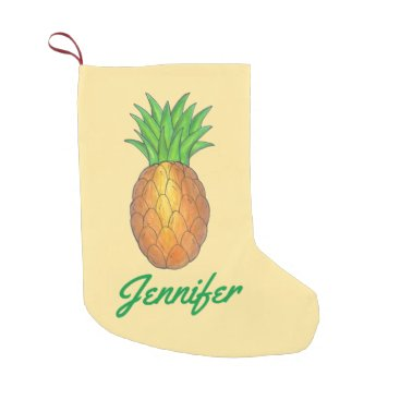 Christmas Themed Personalized Pineapple Print Christmas Stocking