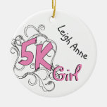 Personalized Pink 5k Girl Runner design Front Ceramic Ornament
