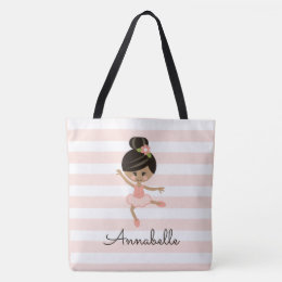 Personalized Pink African American Ballerina Tote Bag