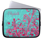 Personalized Pink and Aqua Floral Laptop Sleeve