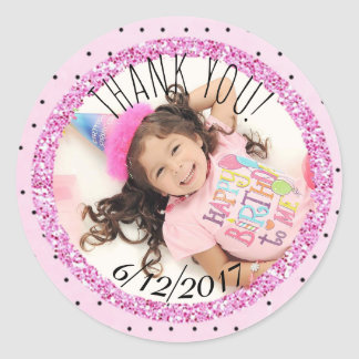 Personalized Pink and Black Birthday Photo Sticker