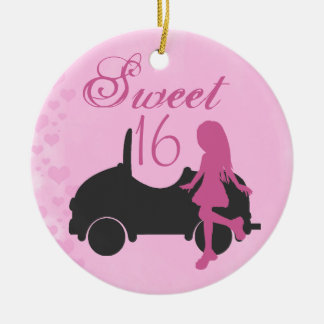 Personalized Pink and Black Car Sweet 16 Sixteeen Ceramic Ornament