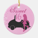 Personalized Pink and Black Car Sweet 16 Sixteeen Double-Sided Ceramic Round Christmas Ornament