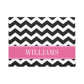 Personalized Pink and Black Chevron Doormat