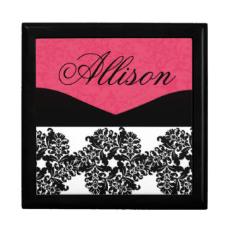 Personalized Pink and Black Damask Bridesmaid Gift Jewelry Box
