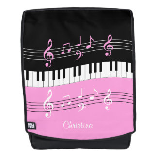 Personalized Pink and  Black music themed Backpack