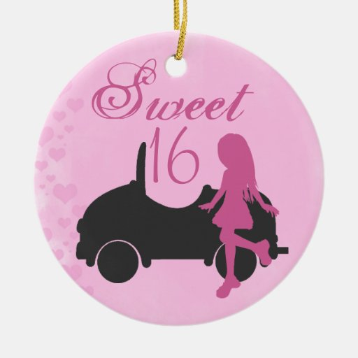 Personalized Pink and Black Sweet 16 Ornament