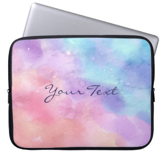 Personalized Pink and Blue Watercolor Computer Sleeve