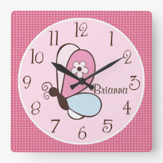 Personalized Pink and Brown Bria Butterfly Clock
