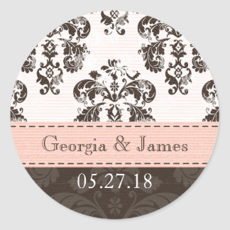 Personalized Pink and Brown Damask Wedding Seals Round Stickers