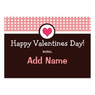 Personalized Pink and Brown Photo Valentine Large Business Card