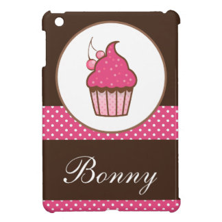 Personalized Pink And Brown Polka Dots Cupcake iPad Mini Cover