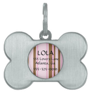 Personalized Pink and Brown Striped Bone Dog Tag