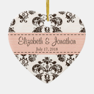 Personalized Pink and Brown Vintage Damask Wedding Ceramic Ornament
