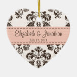 Personalized Pink and Brown Vintage Damask Wedding Double-Sided Heart Ceramic Christmas Ornament