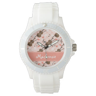 Personalized Pink and Brown Violin Watches