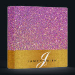 """Personalized Pink and Gold Faux Confetti Glitter 3 Ring Binder<br><div class=""""desc"""">This beautiful personalized Pink and Gold Faux Confetti Glitter binder would be perfect for anything. You can easily change text color,  font,  size and position by clicking the customize button.</div>"""