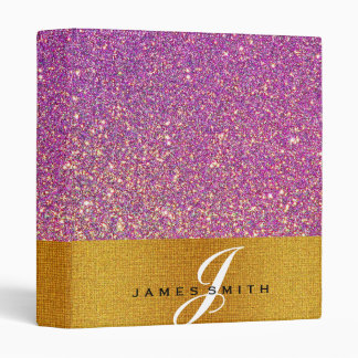 Personalized Pink and Gold Faux Confetti Glitter 3 Ring Binder