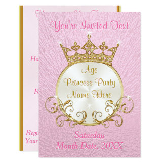 Personalized Pink and Gold Princess Invitations