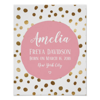Personalized Pink and gold spot birth poster print