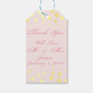 Personalized pink and gold thank you gift tag