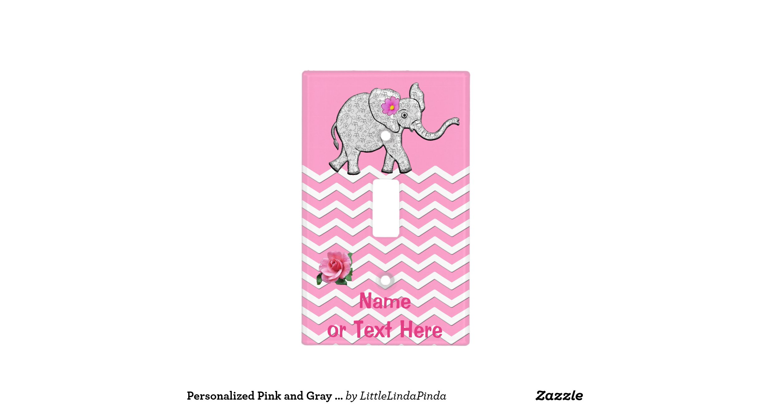 Personalized Pink And Gray Elephant Nursery Decor Light