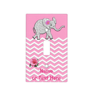 Personalized Pink and Gray Elephant Nursery Decor Light Switch Plate