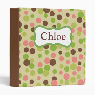 Personalized Pink and Green Binder