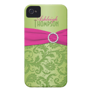 Personalized Pink and Green Damask iPhone 4 Case-Mate Case