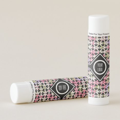 Personalized pink and green diamond weave lip balm