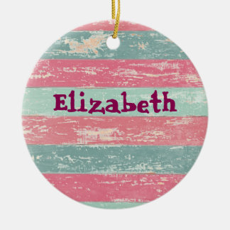 Personalized Pink and Green Fence Texture Ceramic Ornament