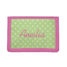 Personalized Pink And Green Polkadots Girls Wallet at Zazzle