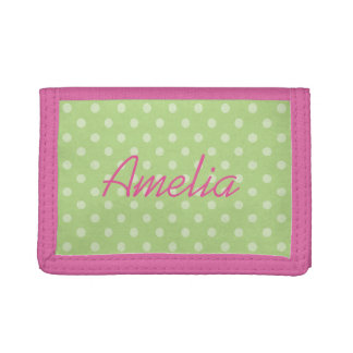 Personalized pink and green polkadots girls wallet