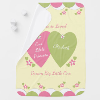 Personalized pink and green Princess baby Swaddle Blanket