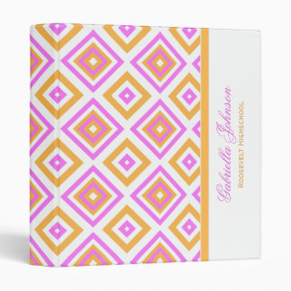 Personalized: Pink And Orange Diamond Print Binder
