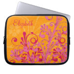 Personalized Pink and Orange Floral Laptop Sleeve