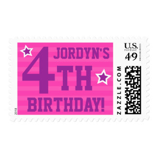 Personalized pink and purple birthday party stamp