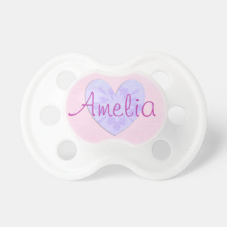 Personalized Pink and Purple Heart Baby Pacifier