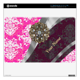 Personalized pink and white damask pattern decals for the MacBook