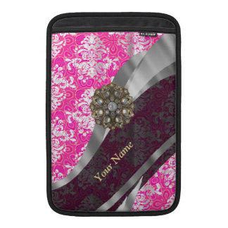 Personalized pink and white damask pattern MacBook air sleeves