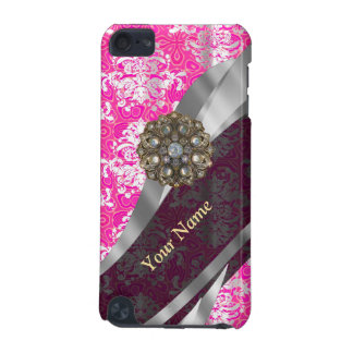 Personalized pink and white damask pattern iPod touch 5G case