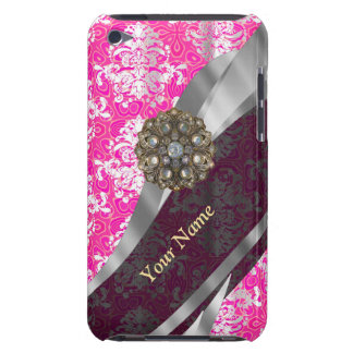 Personalized pink and white damask pattern iPod touch Case-Mate case