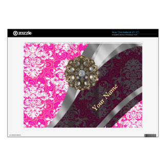 Personalized pink and white damask pattern skin for acer chromebook